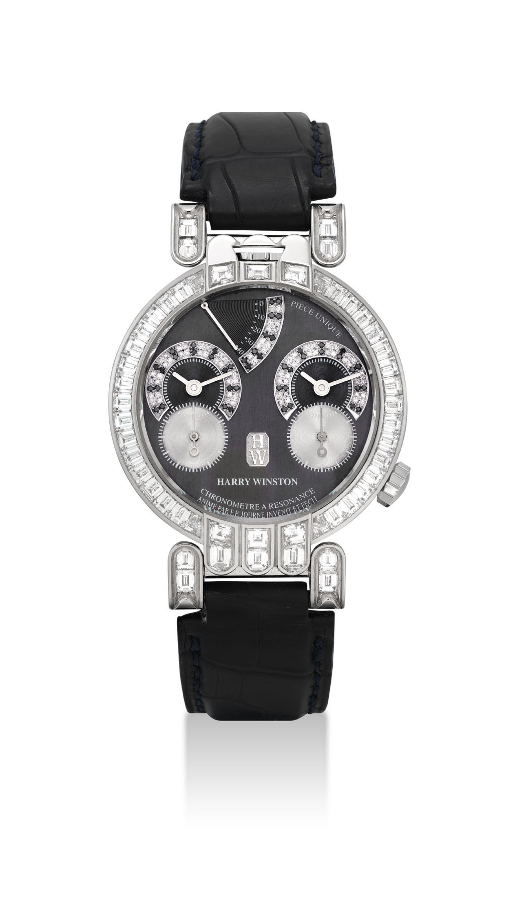HARRY WINSTON & F.P. JOURNE. A UNIQUE AND EXTREMELY FINE PLATINUM, DIAMOND AND BLACK DIAMOND-SET DUAL TIME CHRONOMETER WRISTWATCH WITH RESONANCE-CONTROLLED TWIN INDEPENDENT GEAR-TRAIN MOVEMENT AND POWER RESERVE