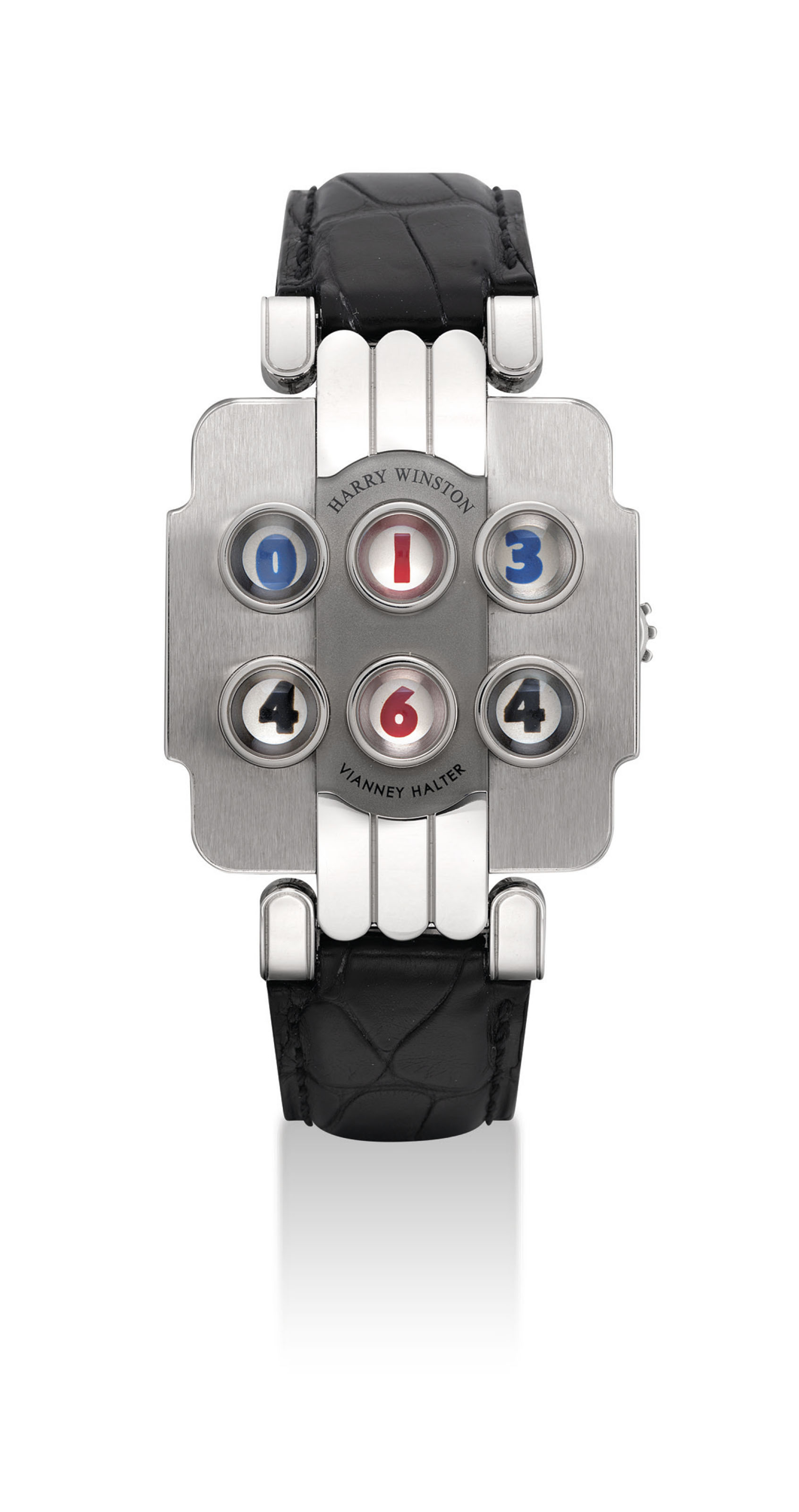 HARRY WINSTON & VIANNEY HALTER. AN UNUSUAL AND RARE PLATINUM LIMITED EDITION WRISTWATCH WITH DIGITAL TIME DISPLAY, HOURS AND DATE