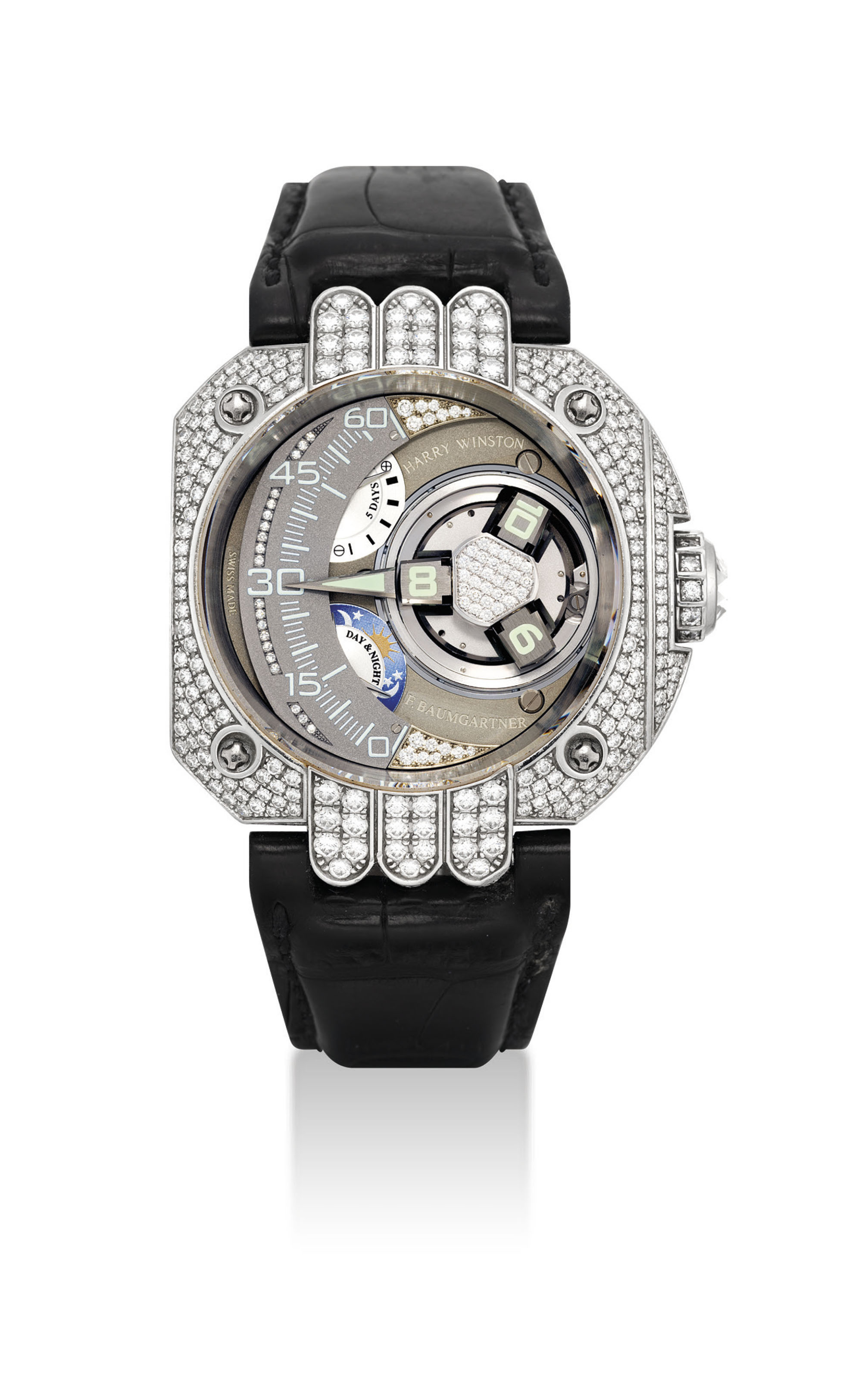 HARRY WINSTON & FELIX BAUMGARTNER. AN UNUSUAL, LARGE AND EXTREMELY RARE PLATINUM AND DIAMOND-SET LIMITED EDITION WRISTWATCH WITH 3-DIMENSIONAL SATELLITE HOUR DISPLAY, RETROGRADE MINUTES, 5 DAY POWER RESERVE, DAY AND NIGHT AND 5 YEARS SERVICE INDICATION