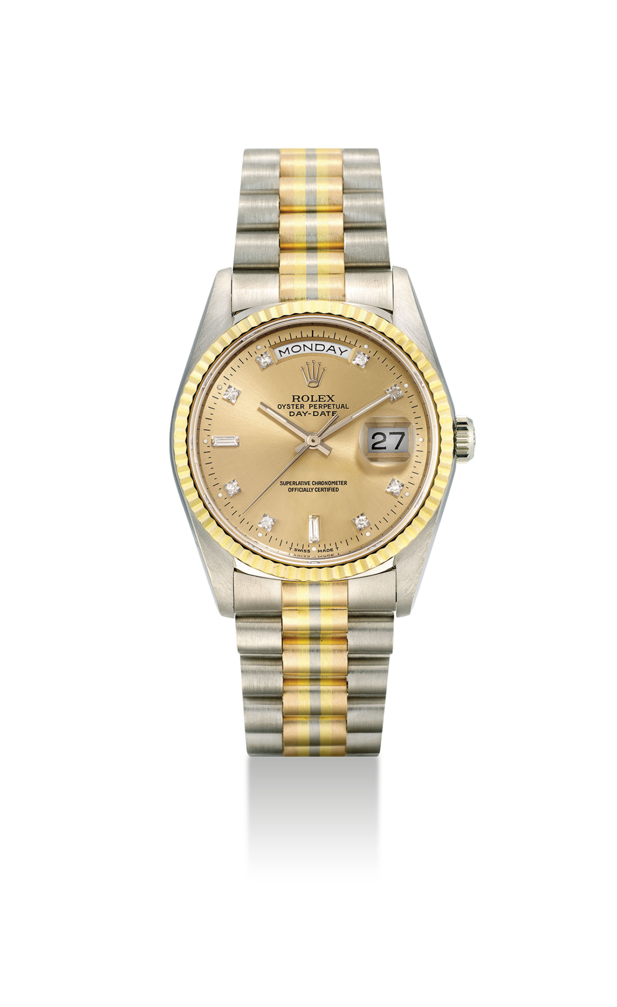 ROLEX. A RARE 18K THREE-COLOUR