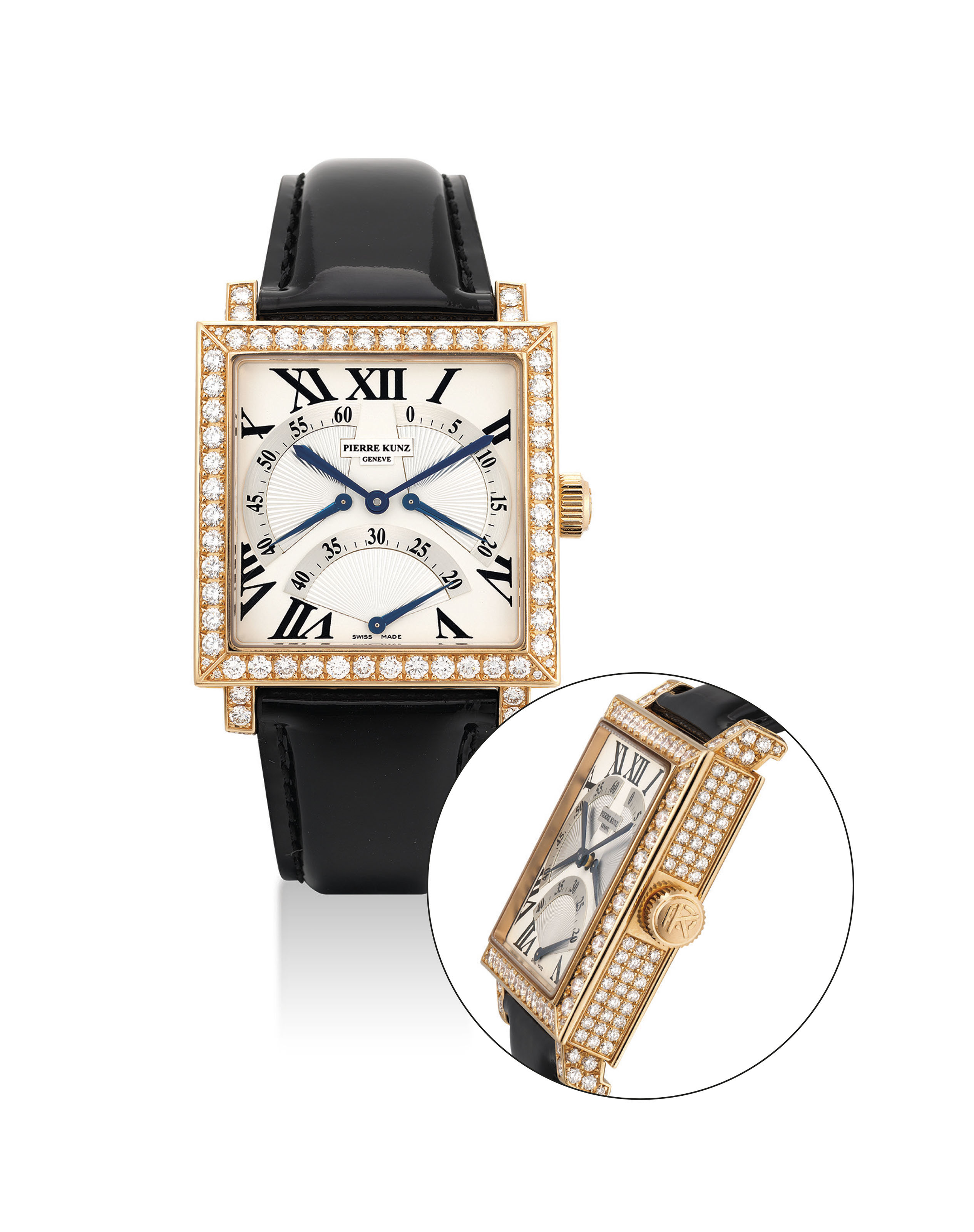 PIERRE KUNZ. AN 18K PINK GOLD AND DIAMOND-SET SQUARE AUTOMATIC WRISTWATCH WITH RETROGRADE SECONDS