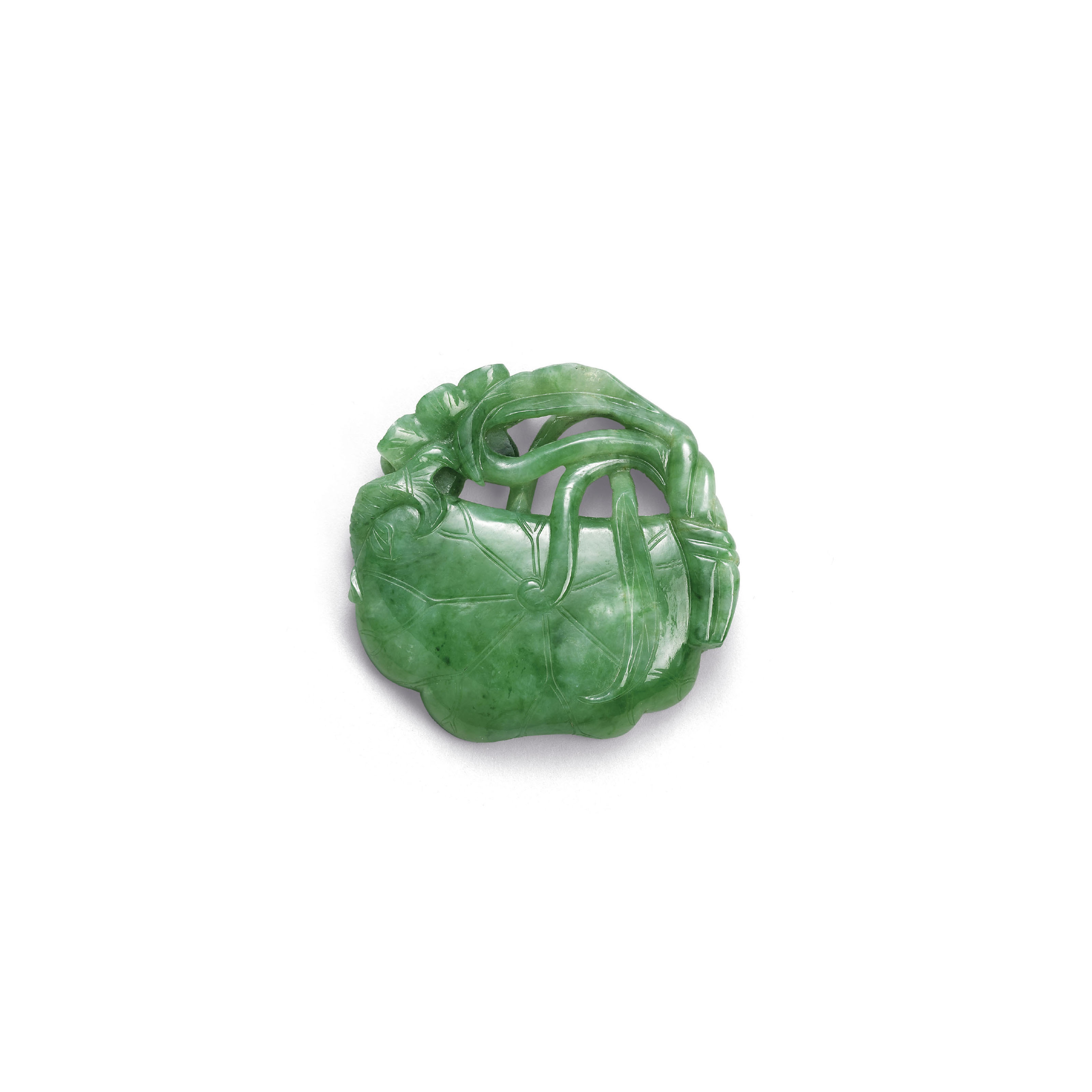 A SMALL JADEITE LOTUS LEAF-FOR