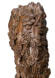 A CARVED ALOESWOOD RHYTON CUP