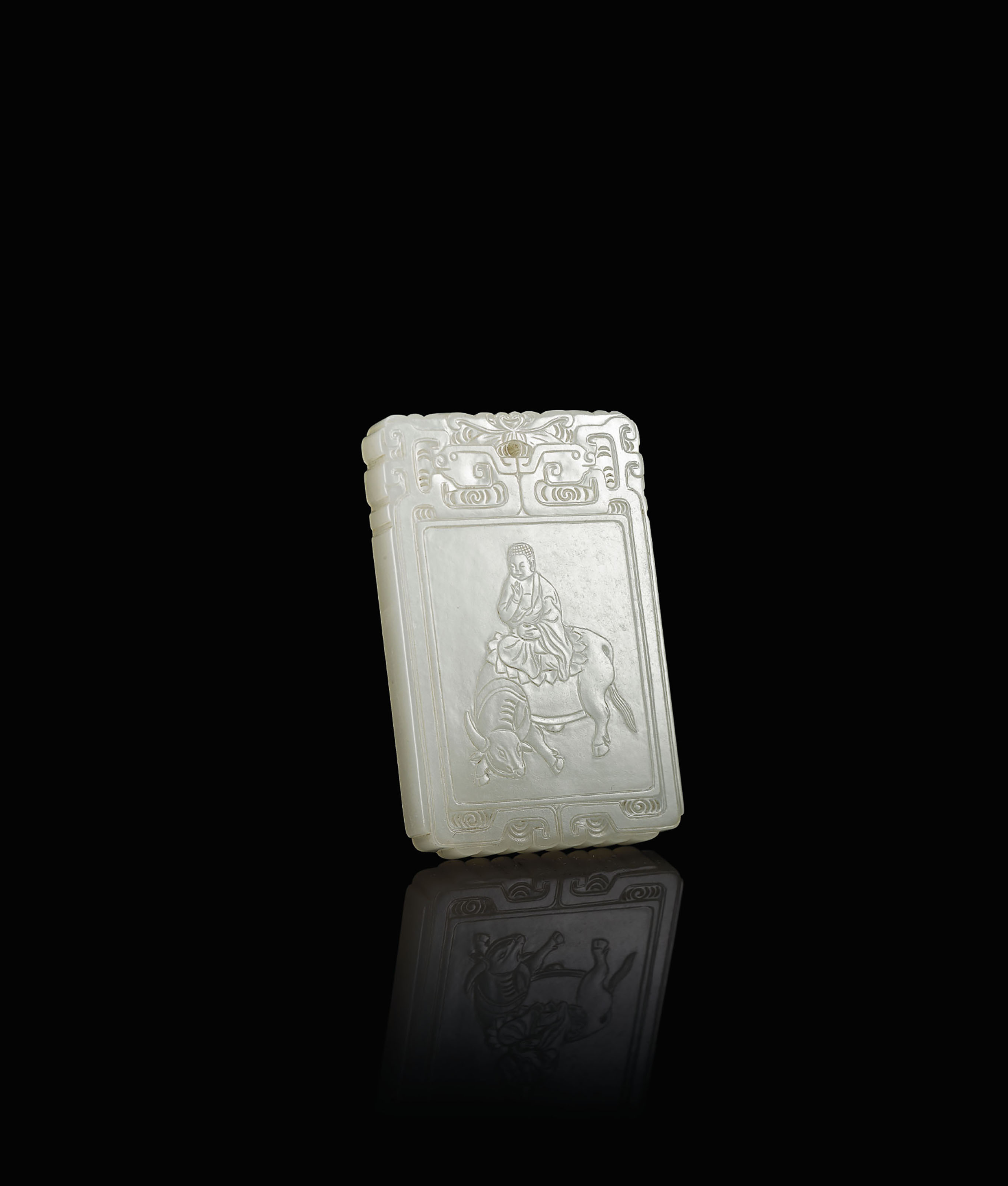 A WHITE JADE 'AMITAYUS' PLAQUE