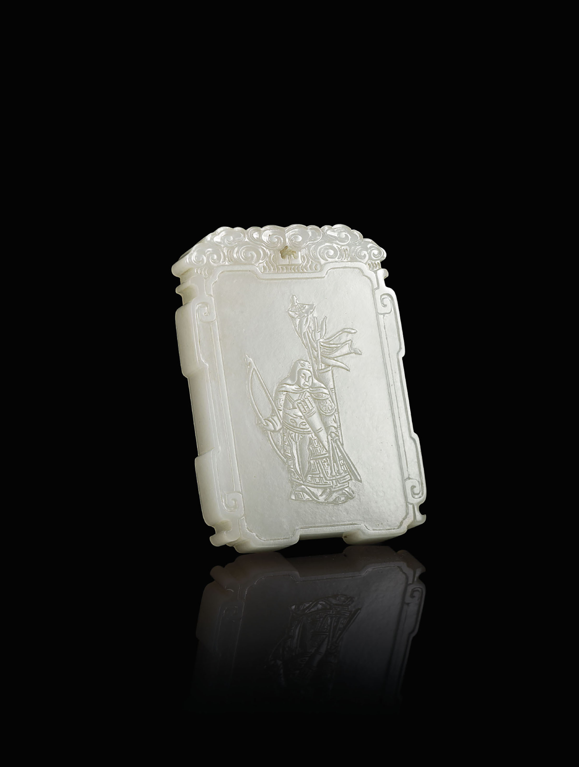 A WHITE JADE 'WU ZIXU' PLAQUE