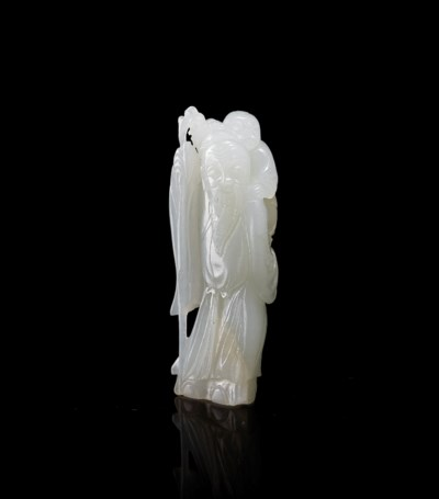 A WHITE JADE CARVING OF 'ELDER