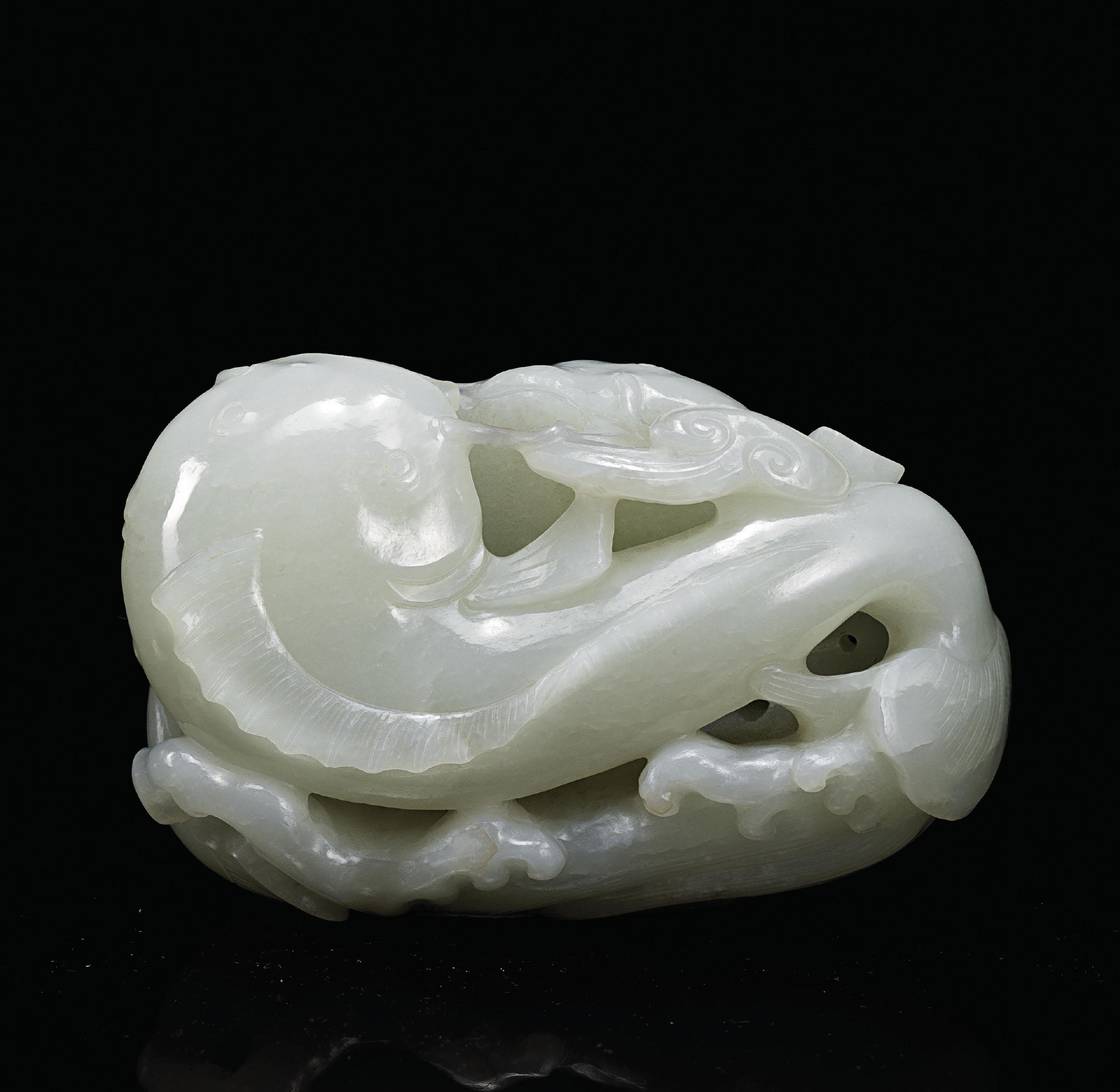 A WHITE JADE 'DOUBLE CATFISH'