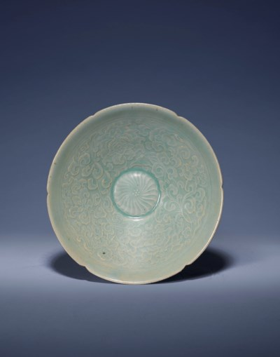 A KOREAN MOULDED CELADON DEEP