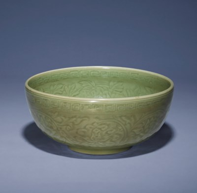 A CARVED LONGQUAN CELADON DEEP