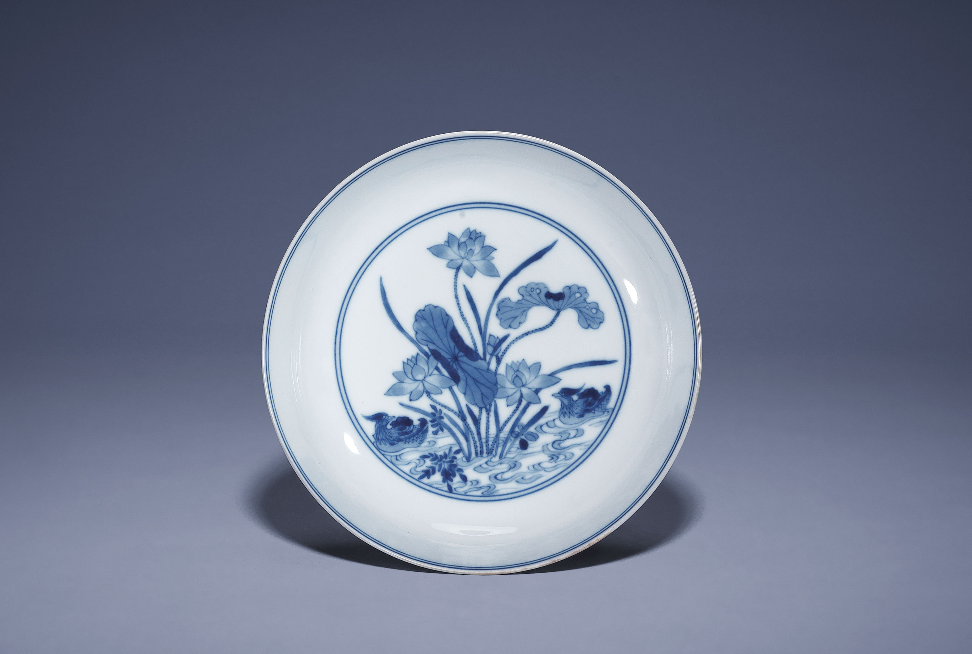 A BLUE AND WHITE 'LOTUS POND'