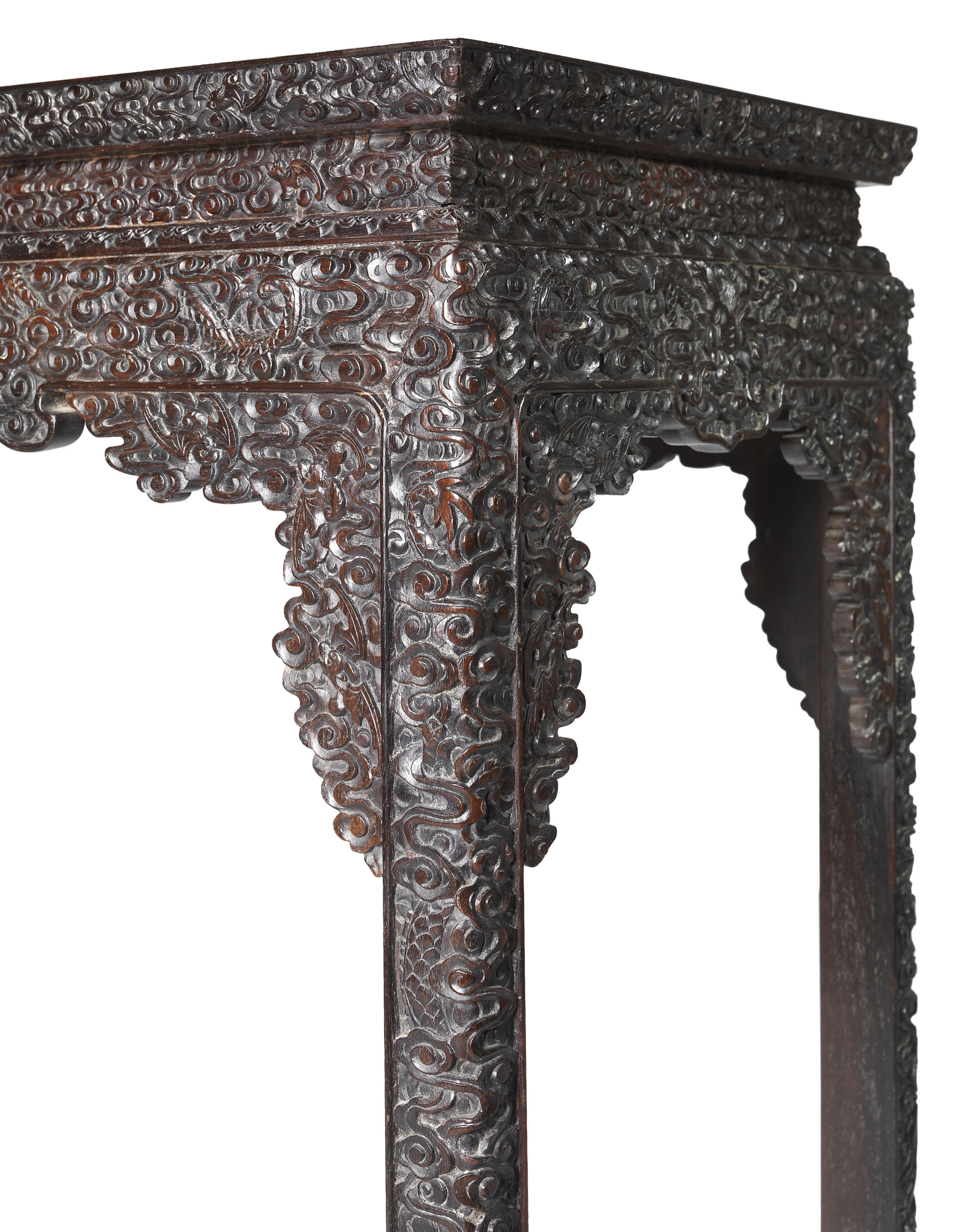 A FINELY CARVED ZITAN SIDE TAB