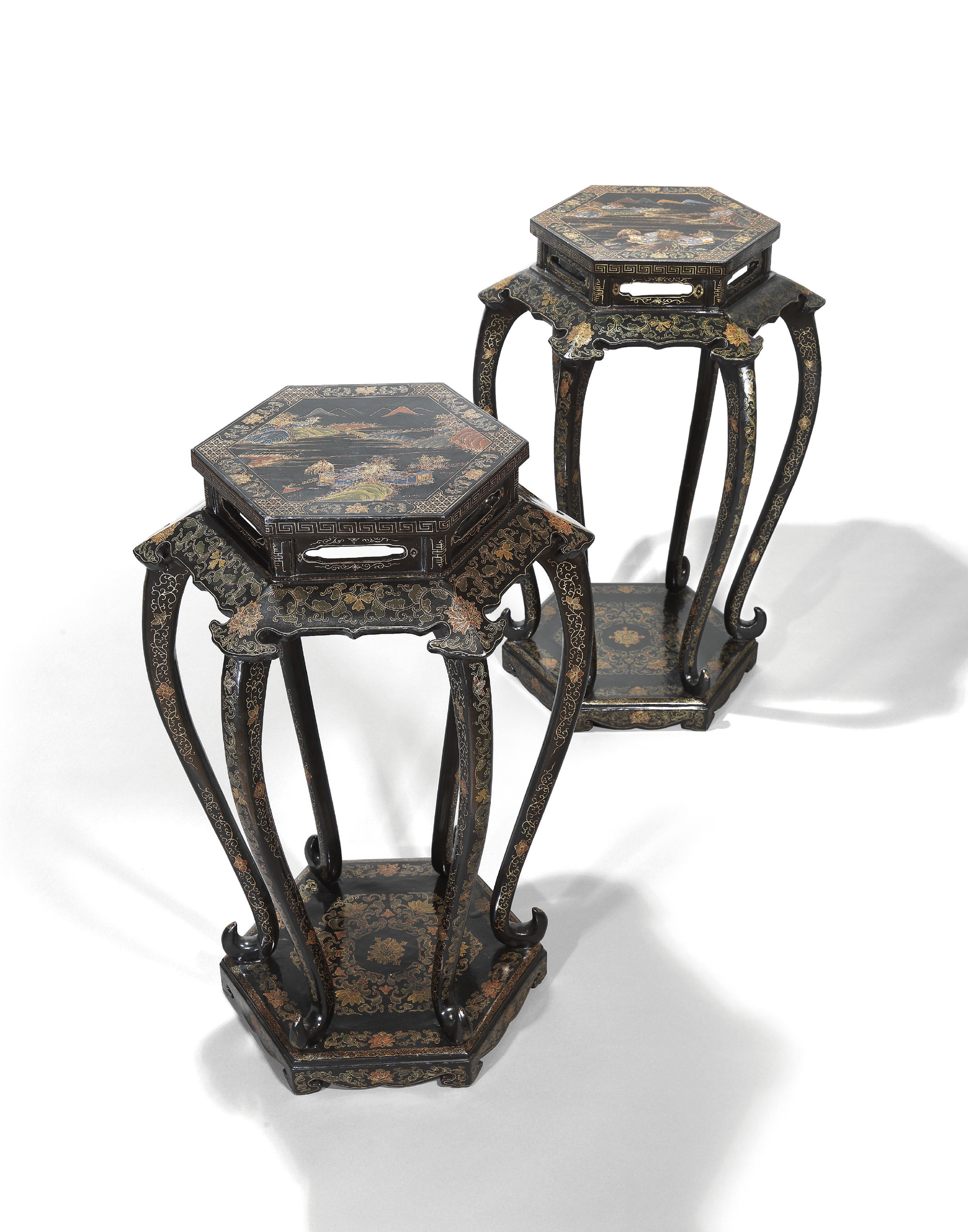 A PAIR OF GILT-DECORATED BLACK