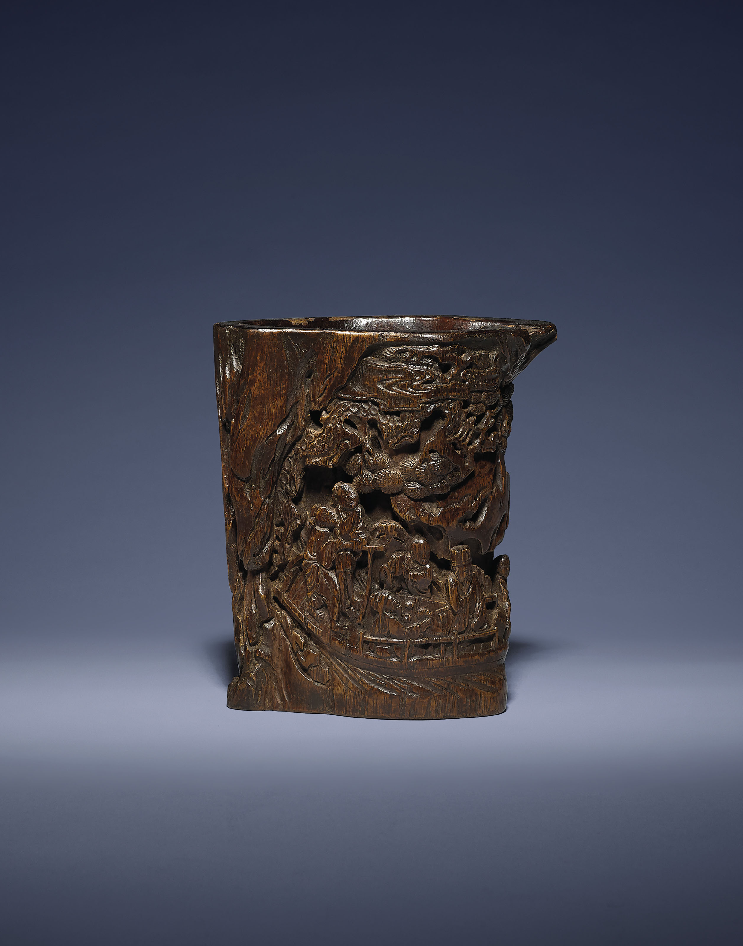 A CARVED ALOESWOOD BRUSH POT