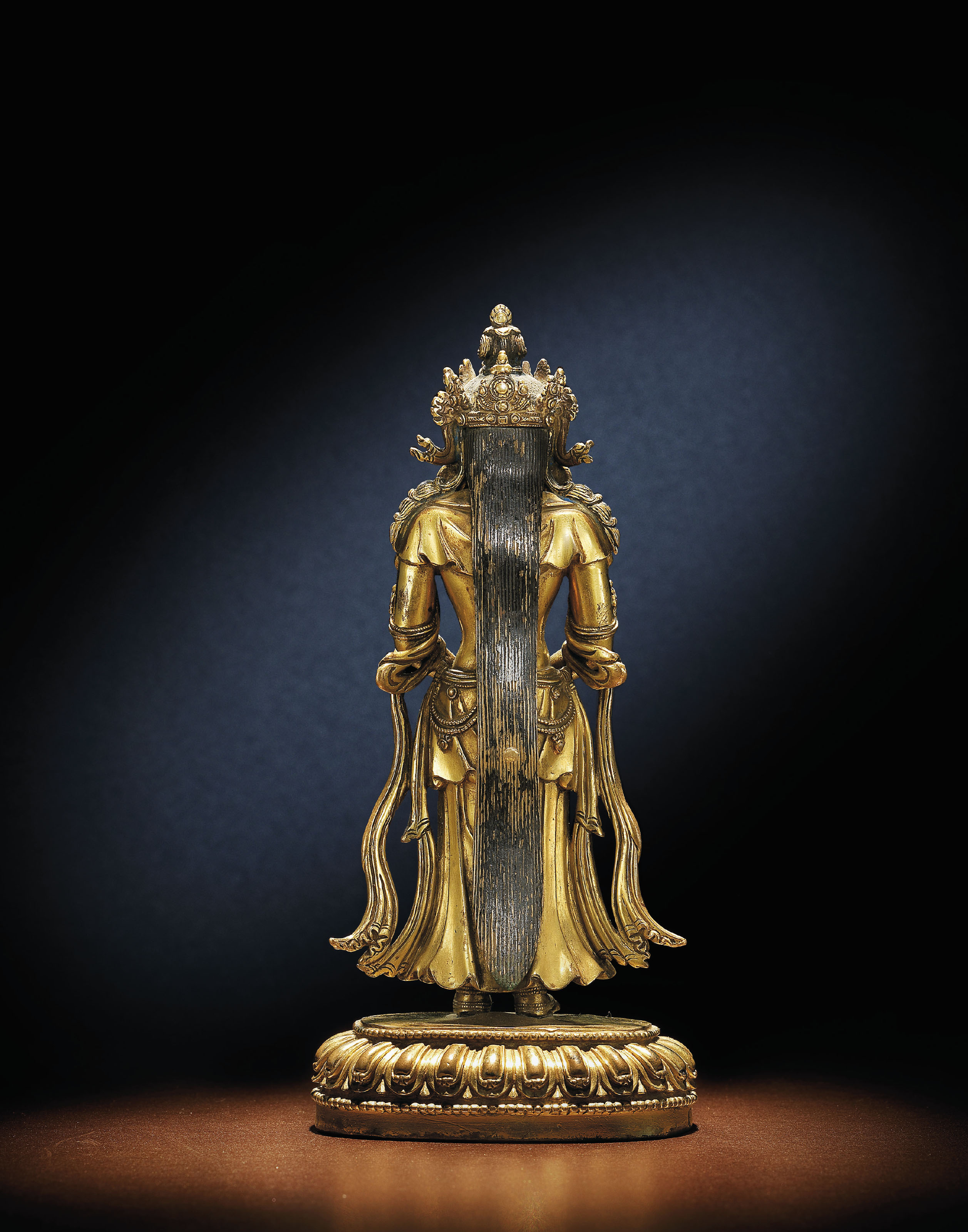 A FINE AND EXTREMELY RARE GILT-BRONZE FIGURE OF AMITAYUS