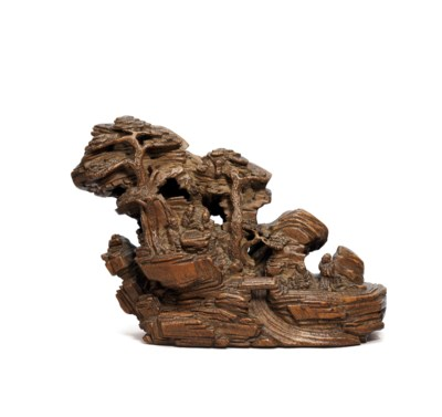 A CARVED BAMBOO ROOT 'FIVE ELD