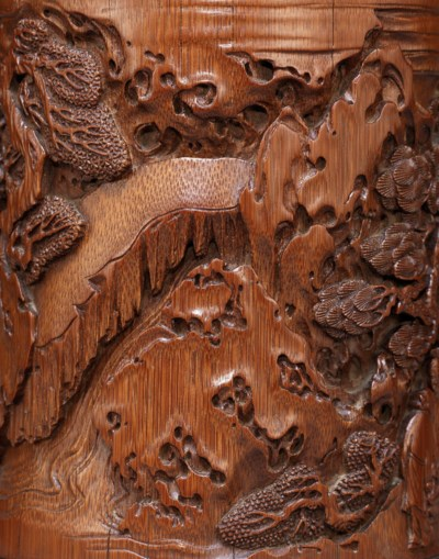 A FINELY CARVED BAMBOO 'RED CL