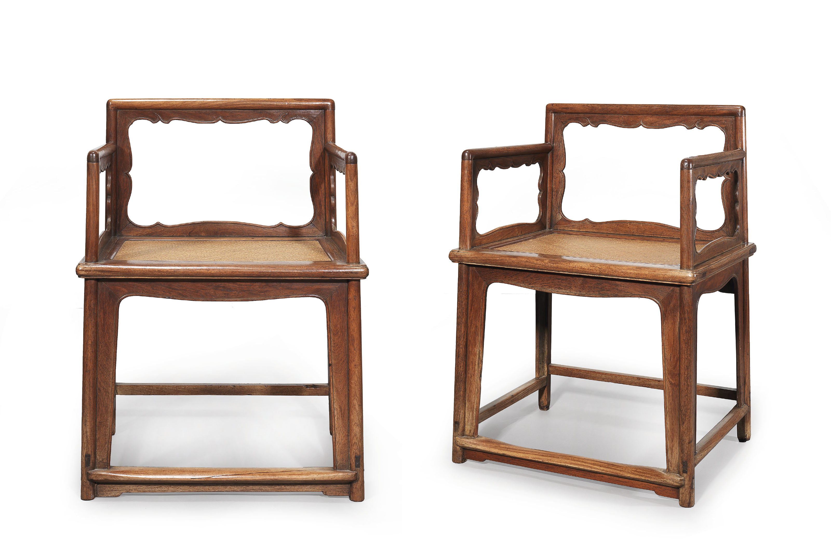 A PAIR OF HUANGHUALI LOWBACK A