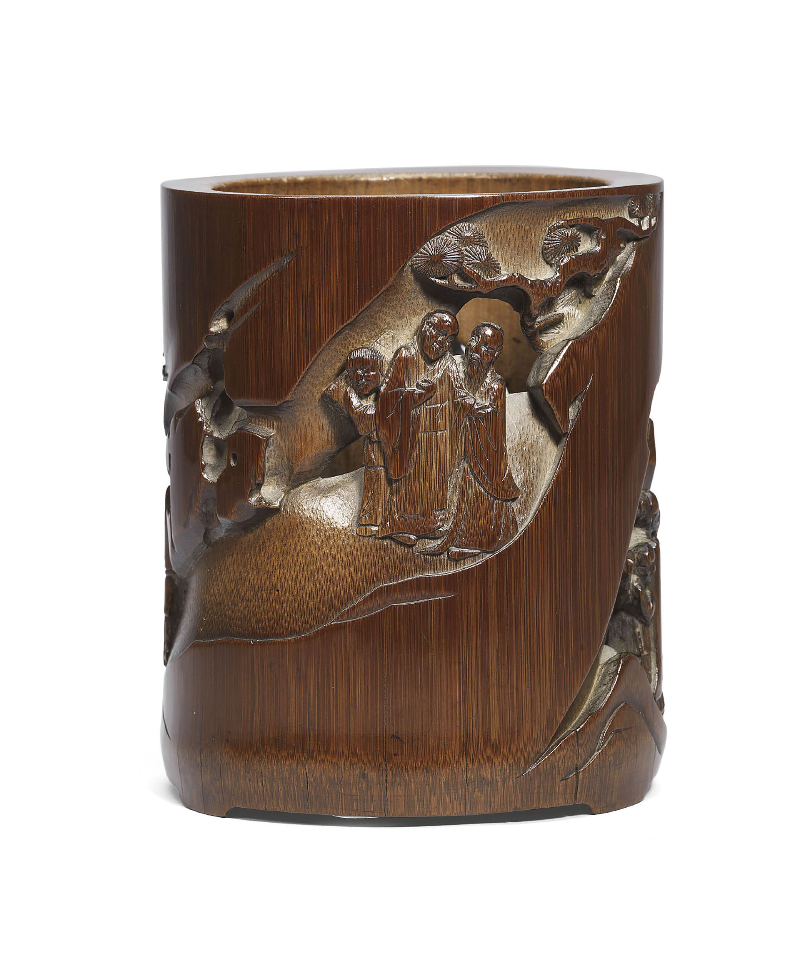 A RETICULATED BAMBOO BRUSH POT