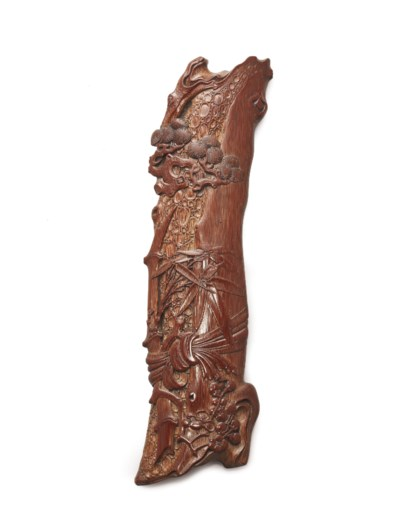 A FINELY CARVED BAMBOO 'THREE