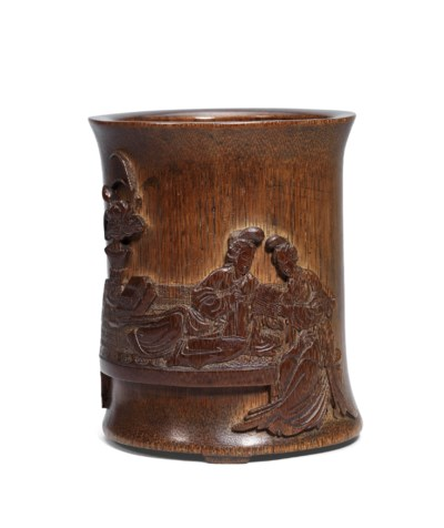 A FINELY CARVED BAMBOO 'QIAO S