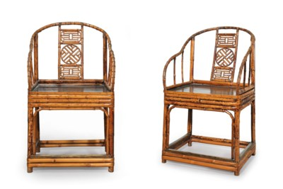 A PAIR OF SPOTTED BAMBOO HORSE