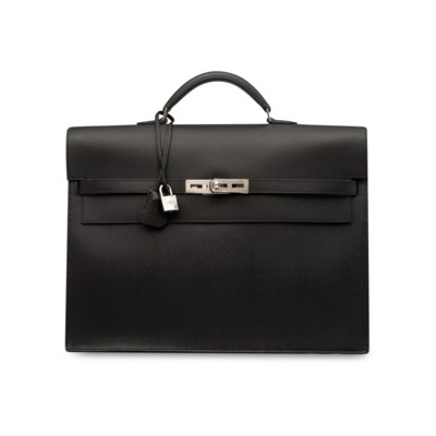 A BLACK EPSOM LEATHER KELLY DÉ