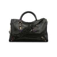 A MATTE BLACK CROCODILE CITY BAG WITH GOLD HARDWARE