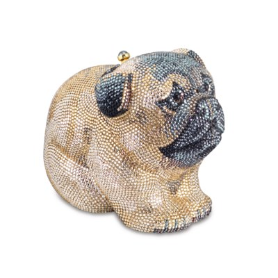 A FULL BEAD GOLD CRYSTAL PUG E