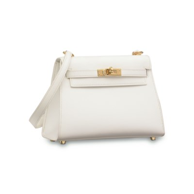 A WHITE EPSOM LEATHER MINI SEL
