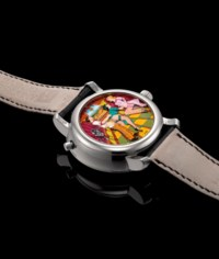 ANDERSEN. A FINE AND RARE 18K WHITE GOLD WRISTWATCH WITH CONCEALED EROTIC AUTOMATON