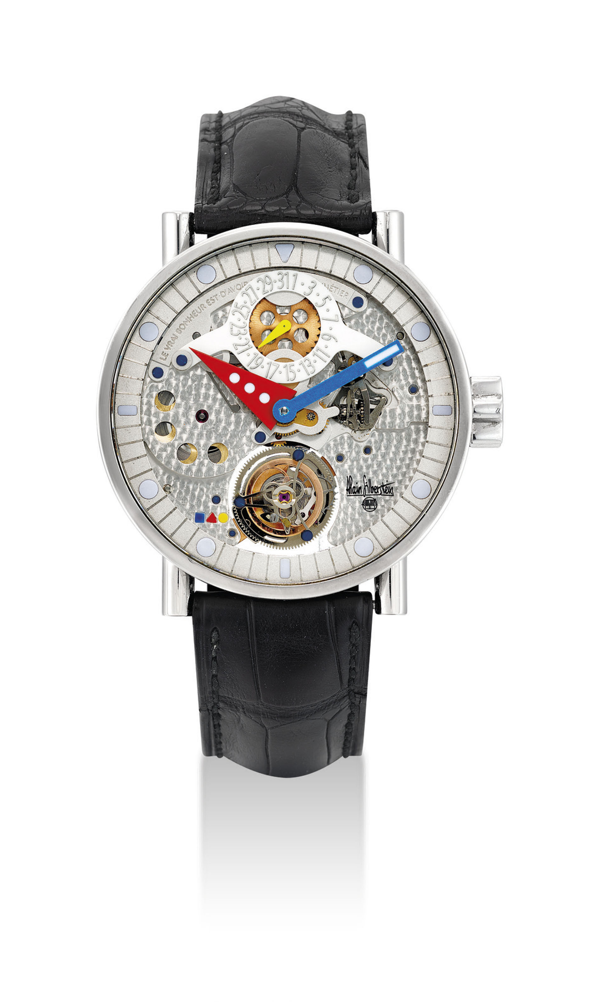 ALAIN SILBERSTEIN. A STAINLESS STEEL LIMITED EDITION SEMI-SKELETONISED TOURBILLON WRISTWATCH WITH DATE