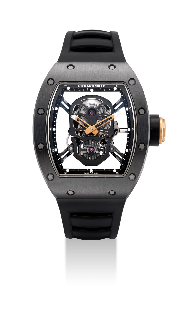Richard Mille. A limited-edition black-coated titanium, ceramic, carbon and zirconium tonneau-shaped skeletonised tourbillon wristwatch.Ref. RM52-01, tourbillon skull, Asia limited edition, No. 0506, circa 2012. Sold for HK$3,460,000 on 30 November 2015 at Christie's in Hong Kong, HKCEC Grand Hall
