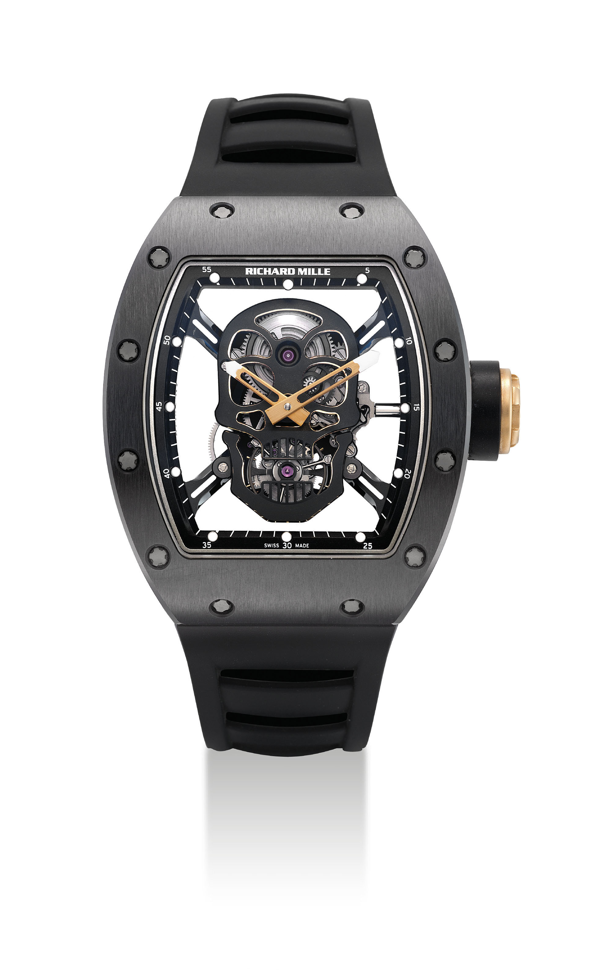 RICHARD MILLE. AN IMPRESSIVE AND EXTREMELY RARE LIMITED EDITION BLACK COATED TITANIUM, CERAMIC, CARBON AND ZIRCONIUM TONNEAU-SHAPED SKELETONISED TOURBILLON WRISTWATCH