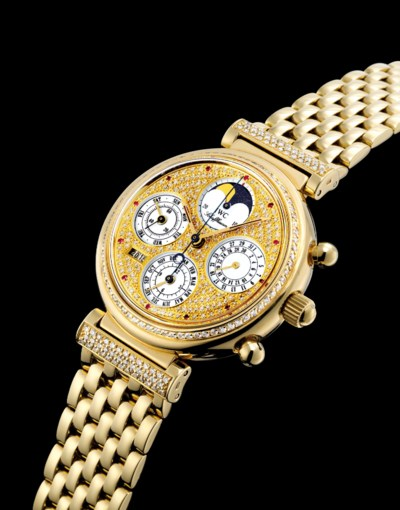IWC. A FINE 18K GOLD, DIAMOND