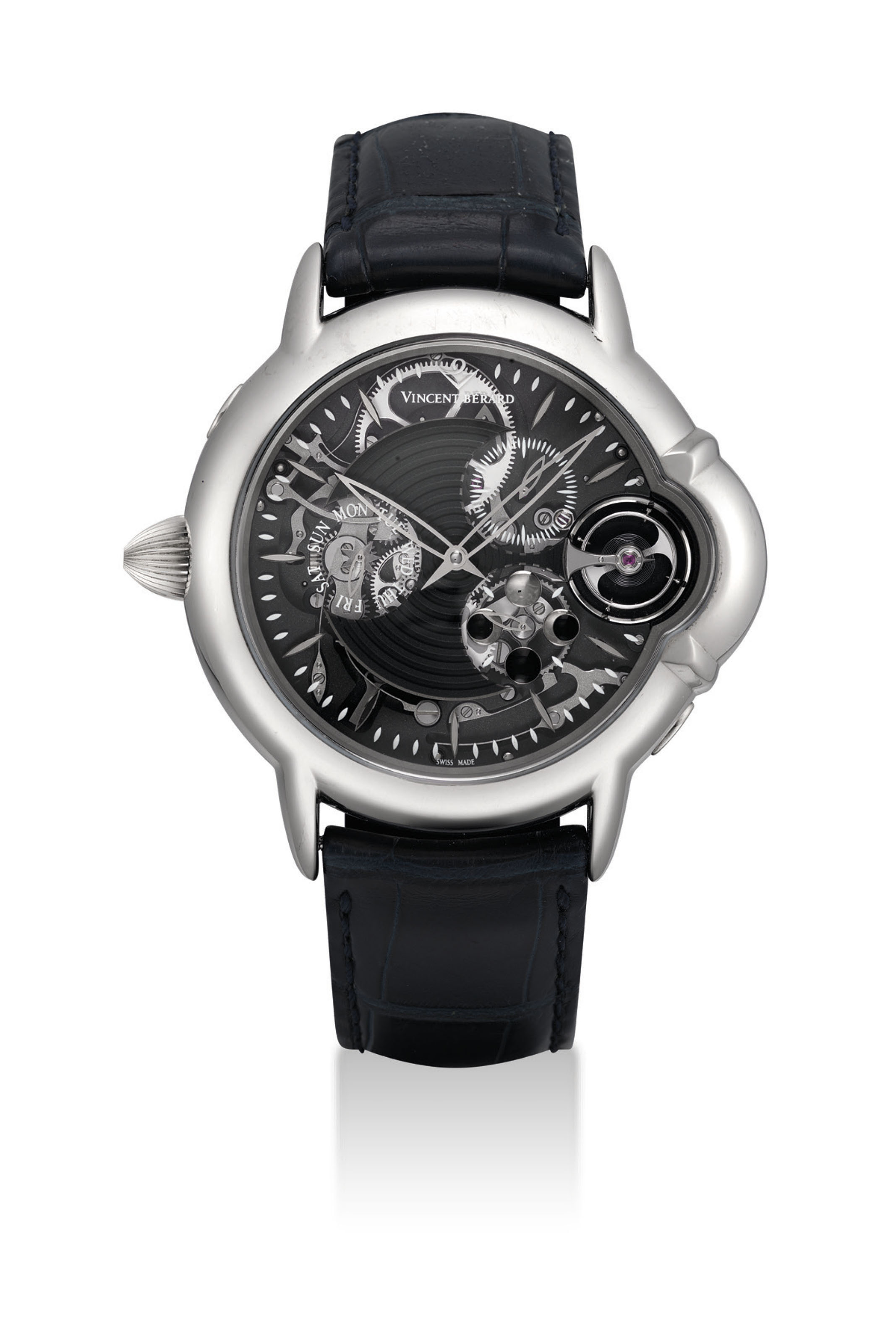 VINCENT BERARD. AN 18K WHITE GOLD LEFTHANDED SEMI-SKELETONISED WRISTWATCH WITH MONTHLY LUNAR CYCLE, POWER RESERVE INDICATION AND DAY