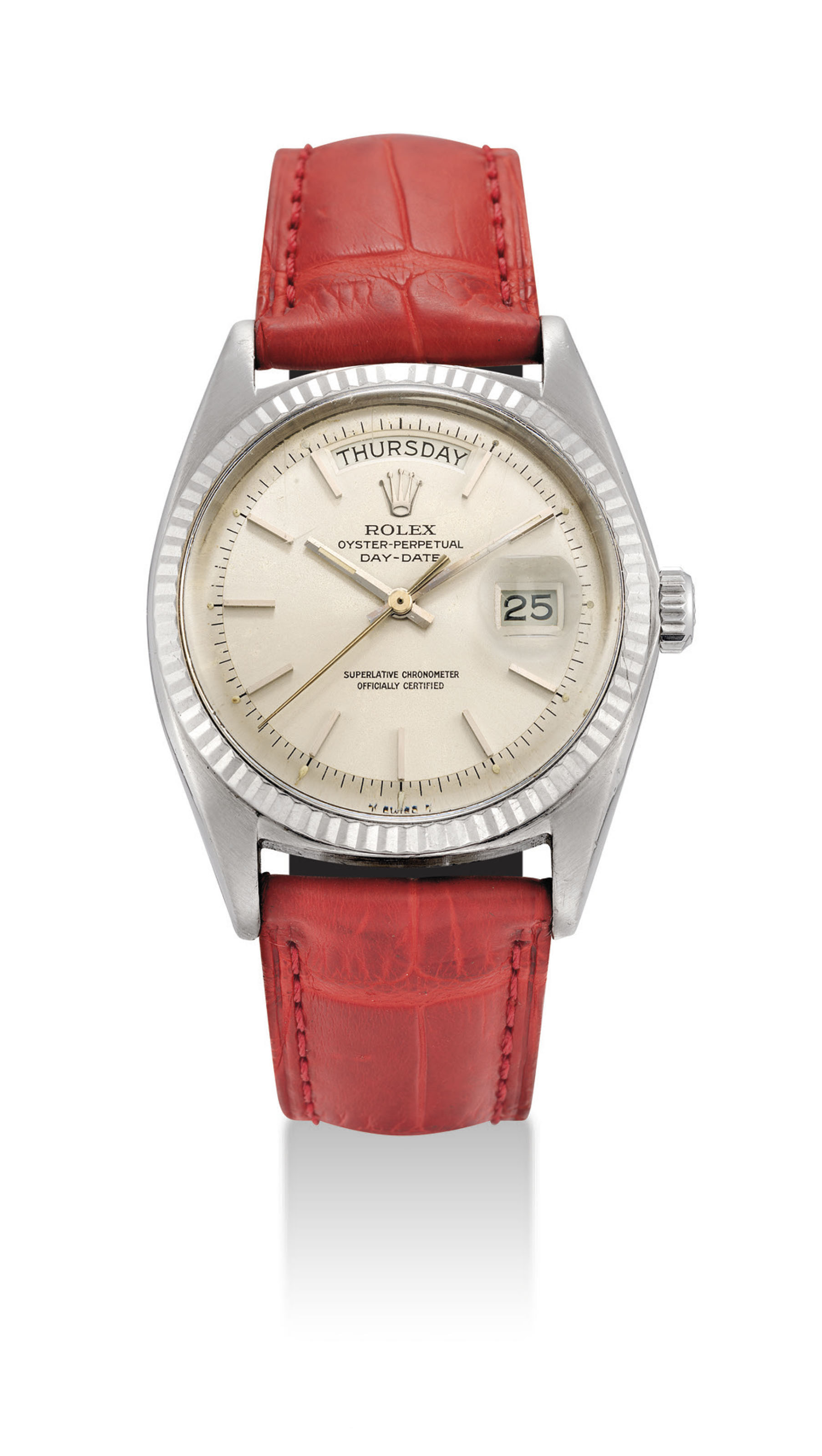 ROLEX. AN 18K WHITE GOLD AUTOM