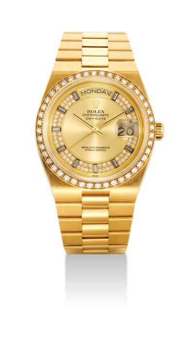 ROLEX. A FINE 18K GOLD AND DIA