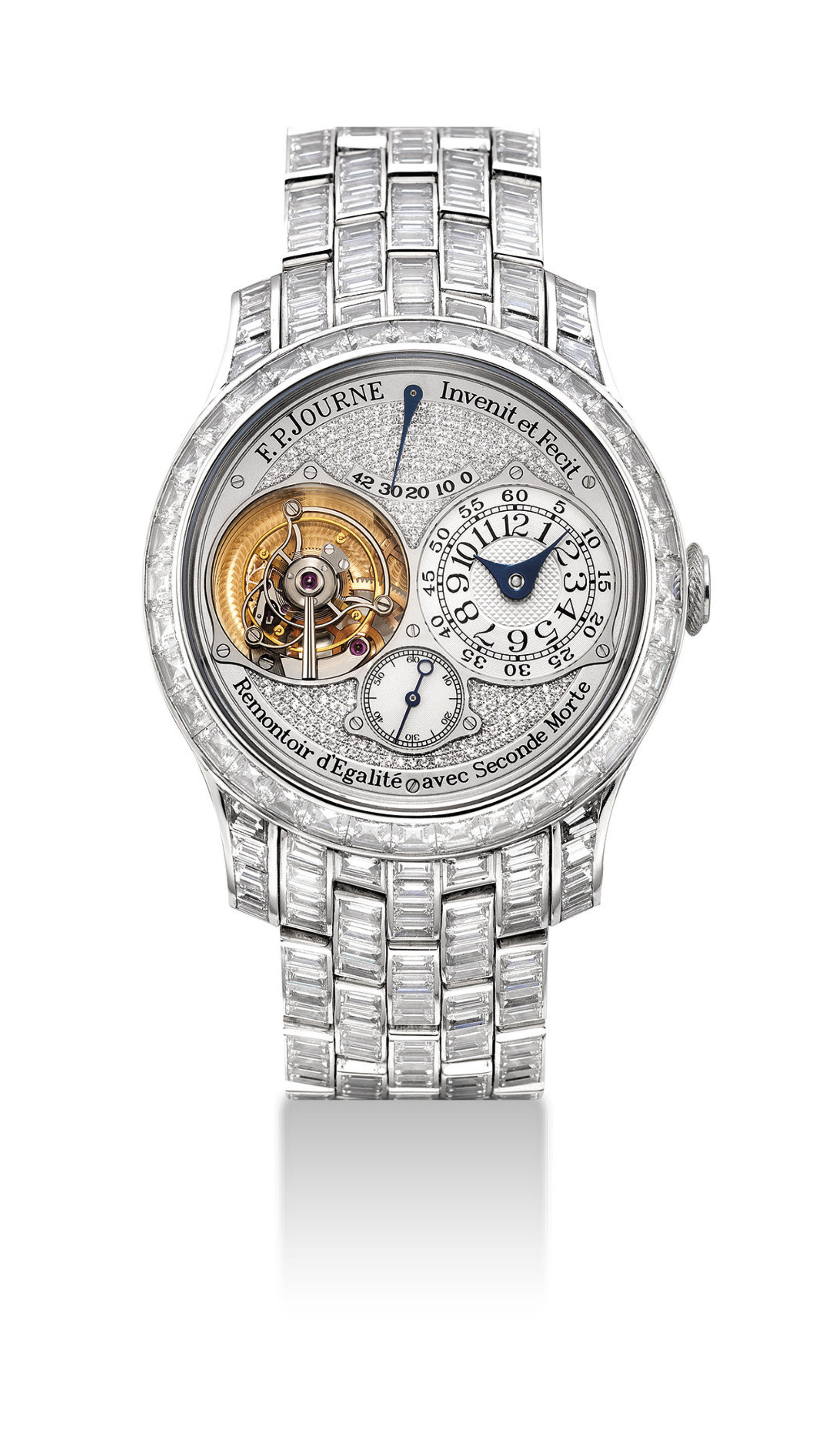 F.P. JOURNE. AN EXCEPTIONAL AND EXTREMELY RARE PLATINUM AND DIAMOND-SET TOURBILLON WRISTWATCH WITH CONSTANT FORCE WINDING, POWER RESERVE, DEAD BEAT SECONDS AND BRACELET