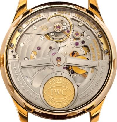 IWC. A FINE 18K PINK GOLD AUTO