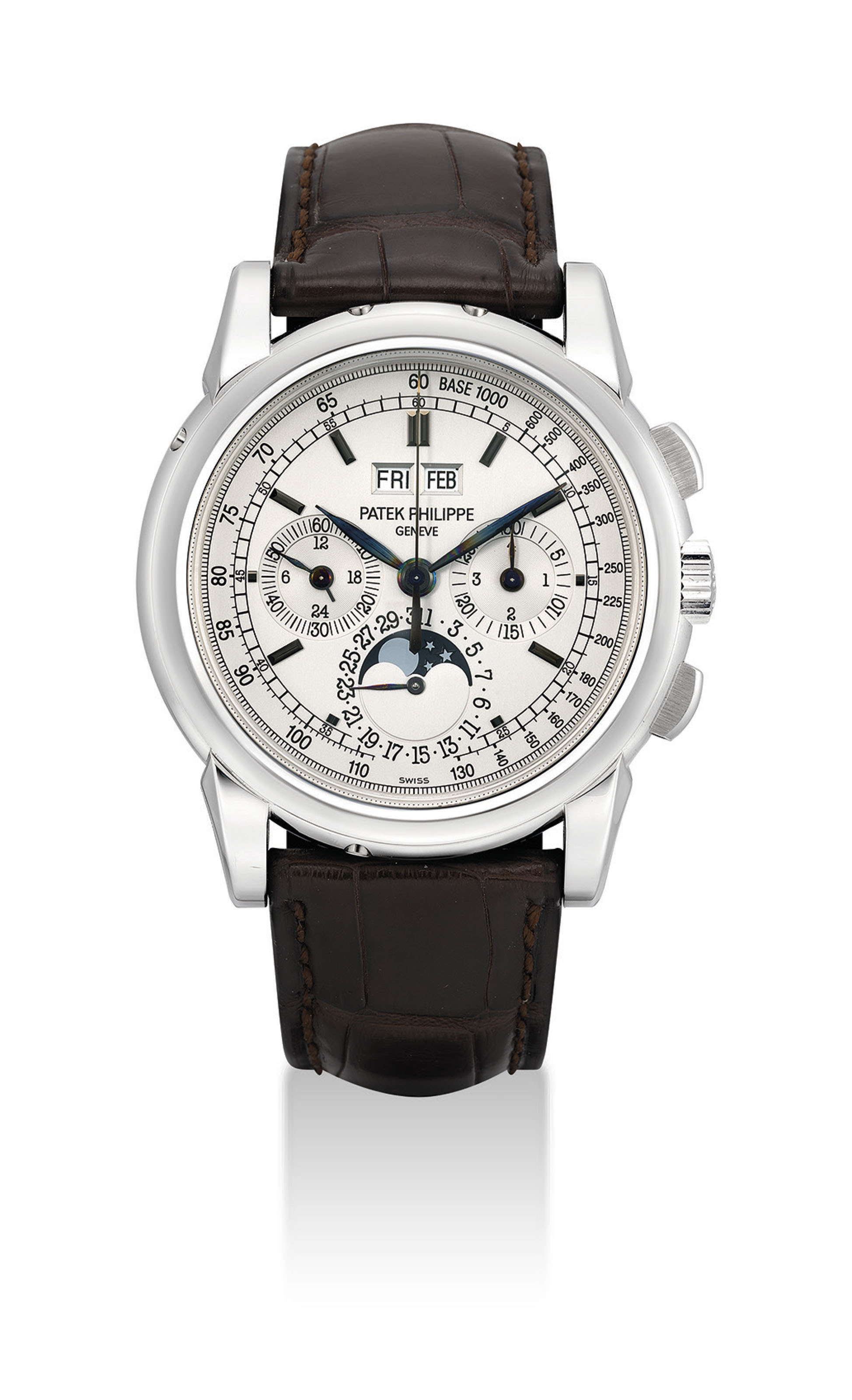 Patek philippe a fine and rare 18k white gold perpetual calendar chronograph wristwatch with for Patek philippe geneve