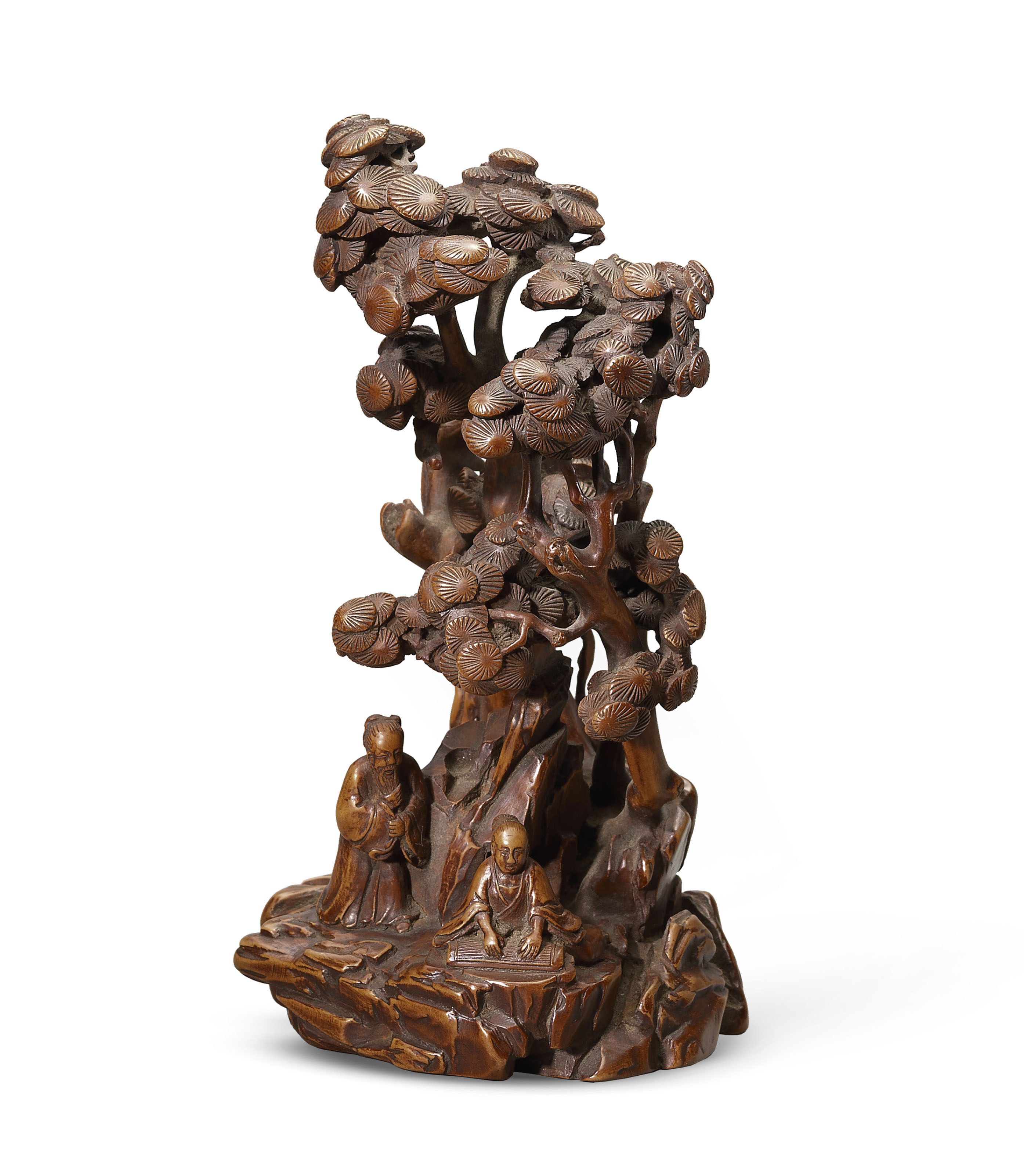 A boxwood carving with two scholars qing dynasty