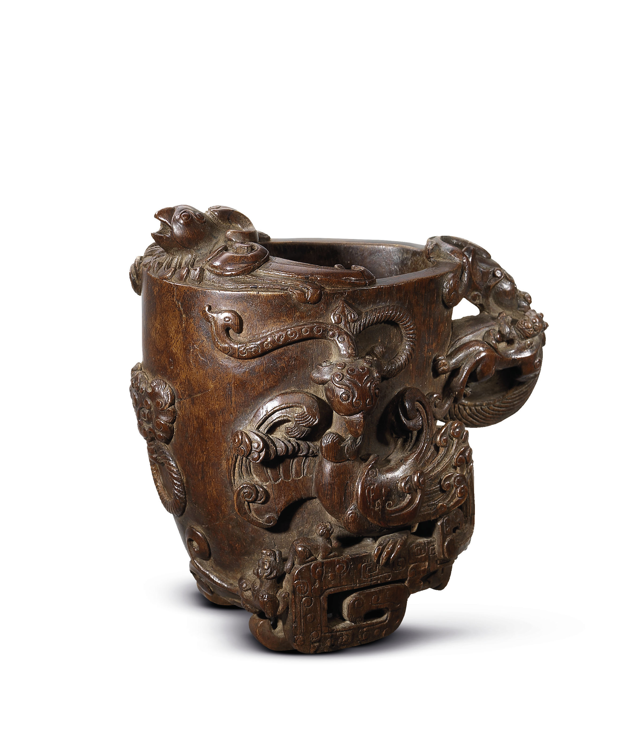 A CARVED ALOESWOOD LIBATION CU