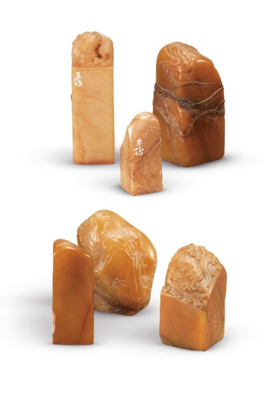 A GROUP OF TEN SOAPSTONE SEALS