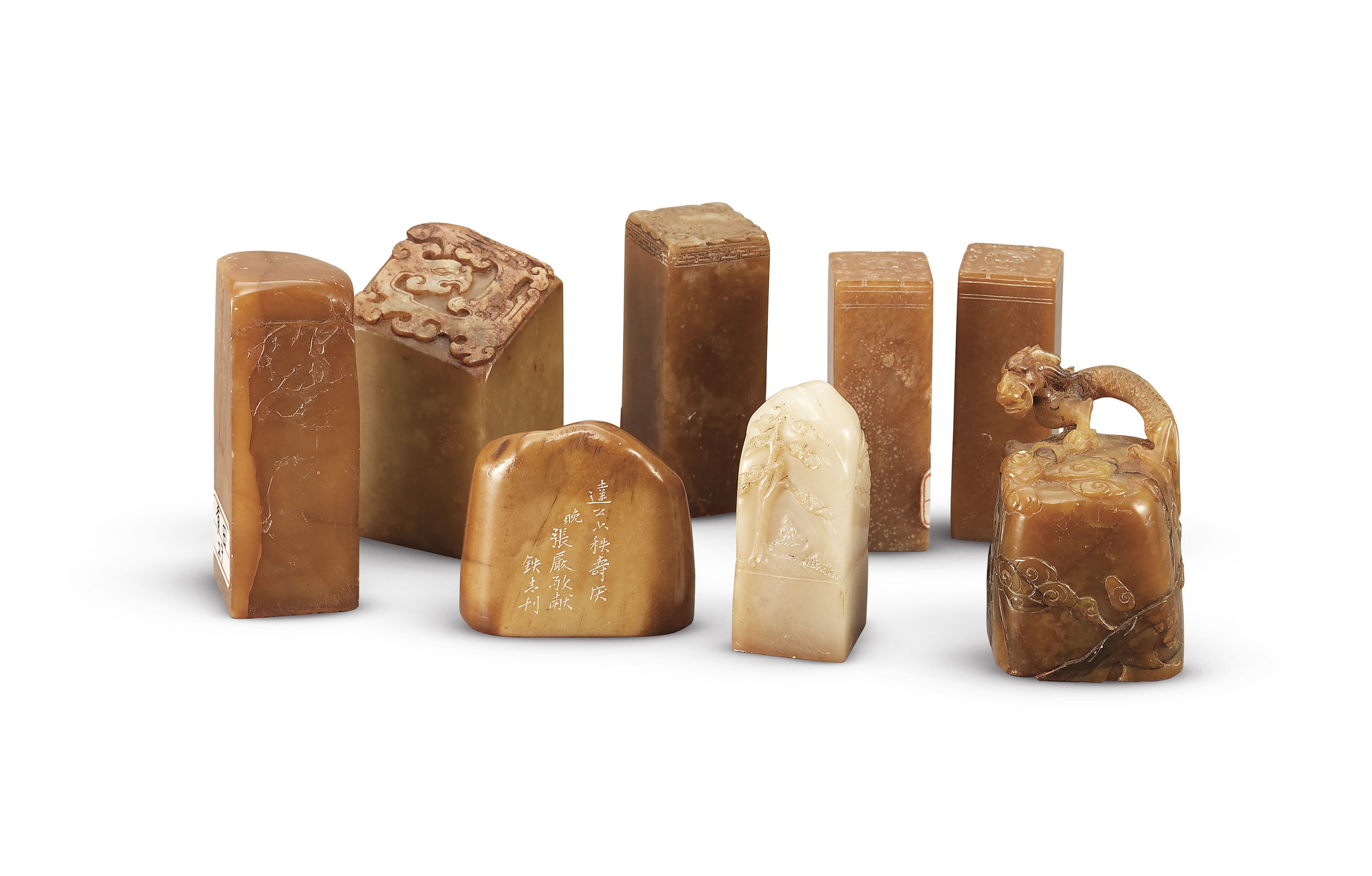 A GROUP OF FIFTEEN SOAPSTONE S