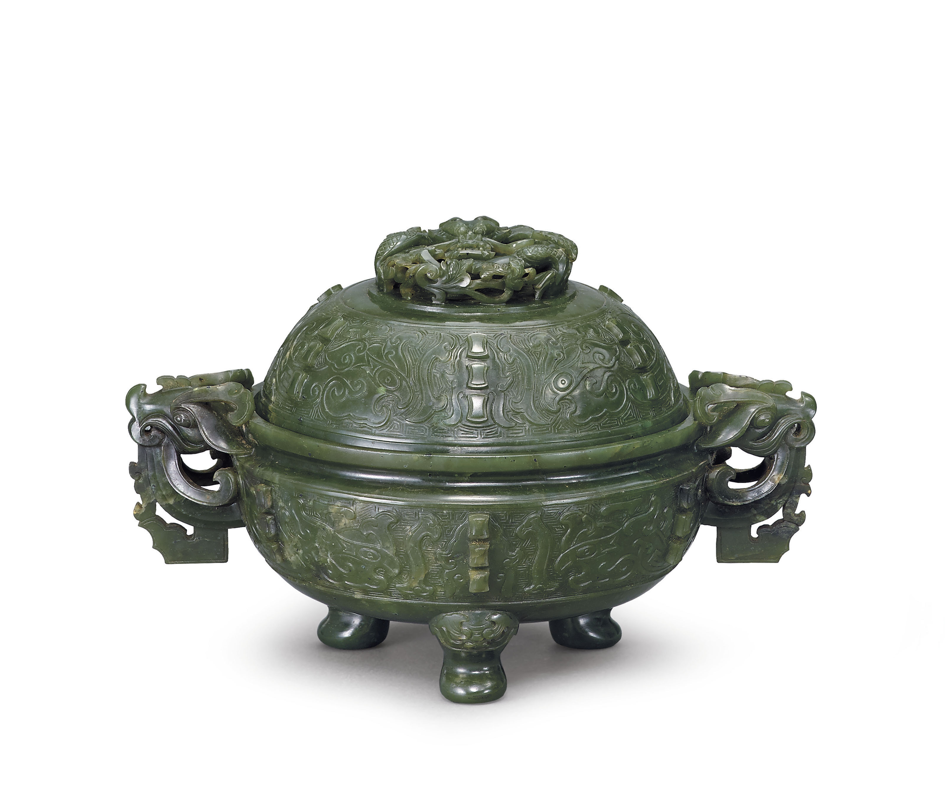 A SPINACH-GREEN JADE CENSER AN