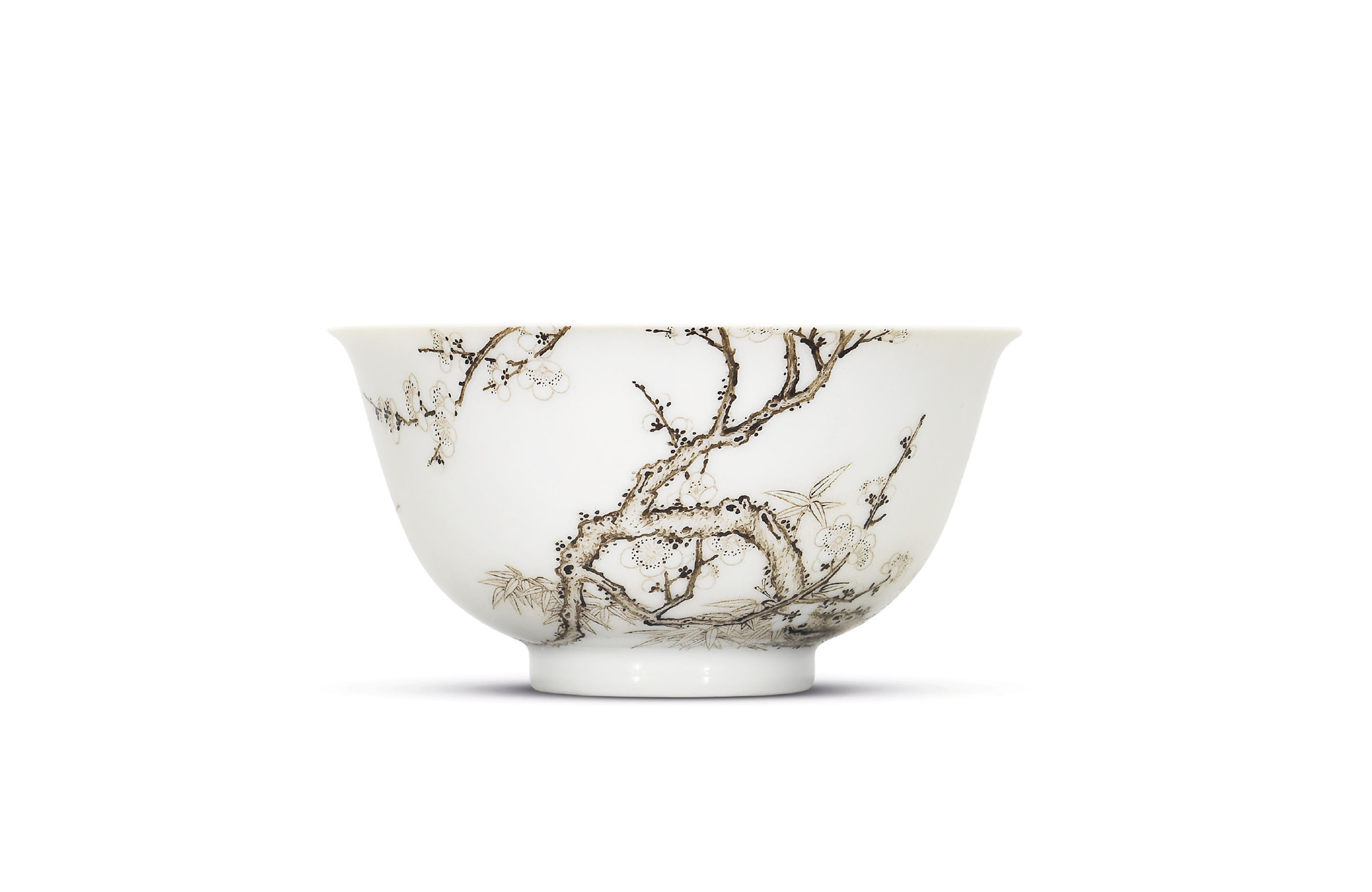 A FINE AND IMPORTANT FALANGCAI SEPIA-ENAMELLED 'PRUNUS AND BAMBOO' BOWL