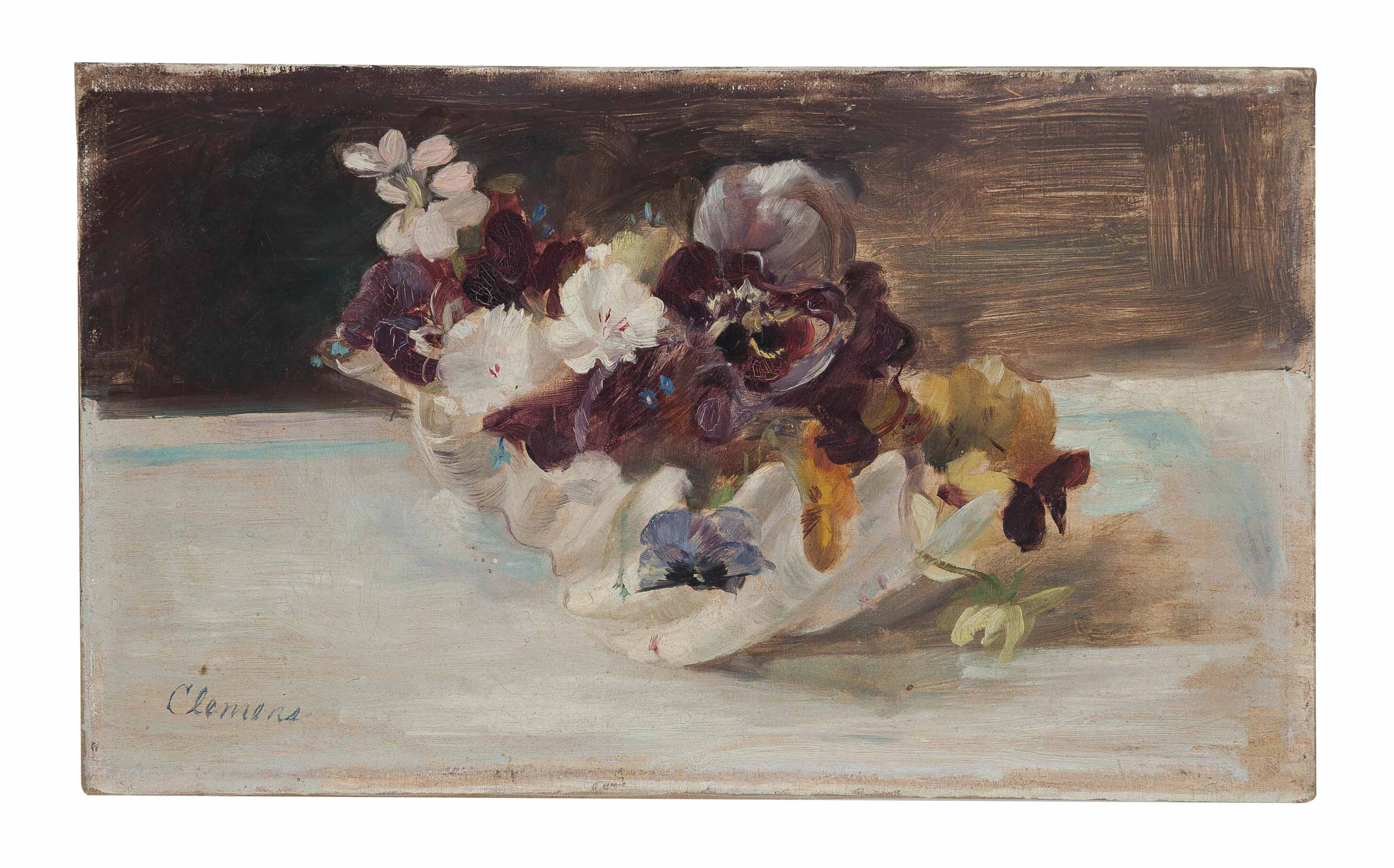 Still life with pansies in a scallop shell