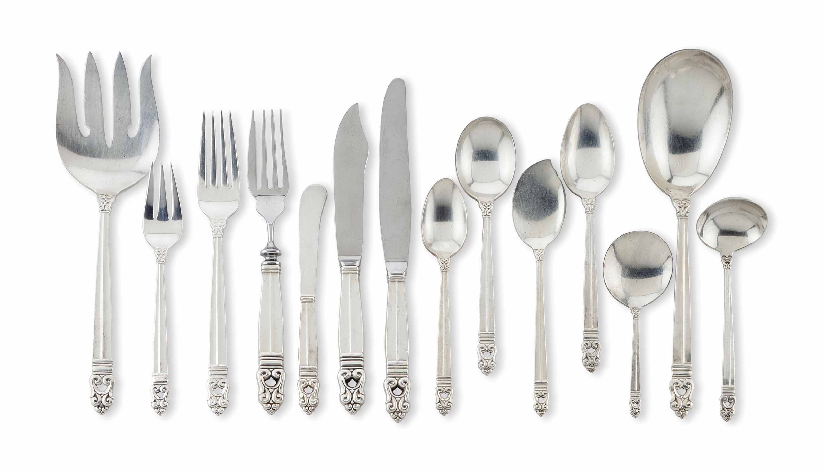 AN AMERICAN SILVER PART FLATWARE SERVICE,