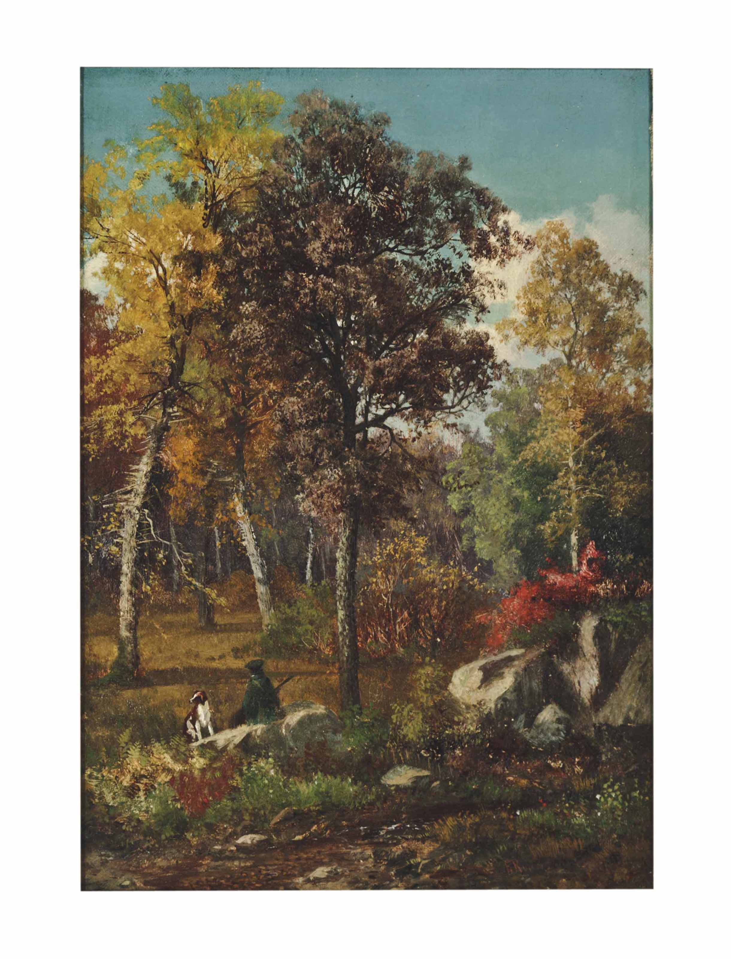 A Hunter and his Dog in a Fall Landscape