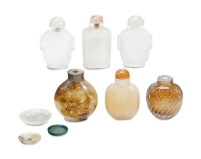 SIX CHINESE HARDSTONE AND GLAS
